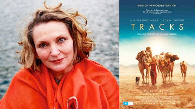 Robyn Davidson and movie poster for Tracks